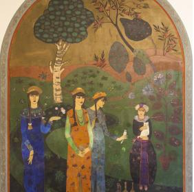 Painting located in the atrium depicting the four daughters of the baroness Josefina: Felicita, Rosanna, Renata and Fernanda
