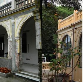 External side of the Villa: before and after