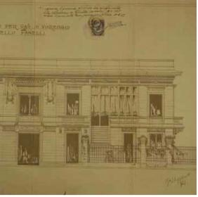 Drawing of the right side of the facade of Villa Argentina