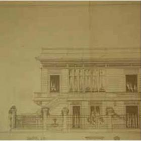 Drawing of the left side of the facade of Villa Argentina